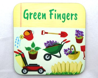 Green Fingers Gardening Coaster, Gardening Coaster, Ideal Gardeners Gift.