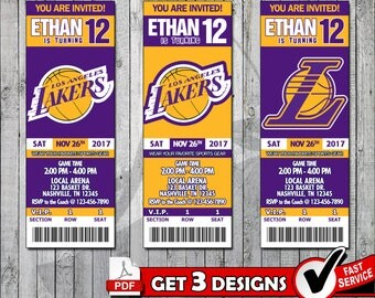 Basketball Los Angeles Lakers Invitation Tickets - Digital files only