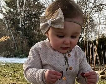Burlap hair bow, lace hair bow, elegant hair bow, flower girl, burlap headband, baby headband, lace