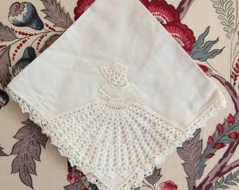 Vintage crinoline lady handkerchief - crochet trim