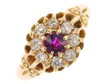 Antique Ruby and Diamond Cluster Ring, Halo Ring
