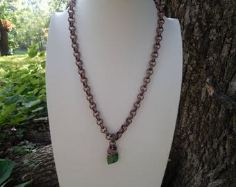 Antiqued Copper and Turquoise Boho Necklace and Earring Set