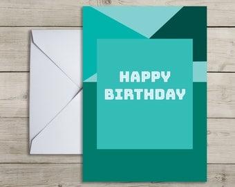 Happy Birthday - Simple, card, green
