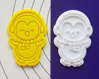 Penguin wearing Earmuff Cookie Cutter and Stamp