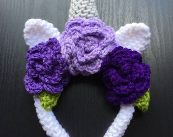 Unicorn Headband - Crochet Unicorn Head Band - Unicorn Flower Crown - Unicorn Headpiece - Unicorn Flower Headband - Unicorn Headdress