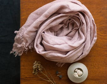 Pale Rose Linen Scarf, Pastel Pink Linen Scarf, Dusty Rose Shawl, Linen Scarf With Fringes, Handmade Linen Wrap, Rose Linen Wrap Scarf
