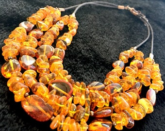 Large Baltic Amber Multi-strand Earth Necklace