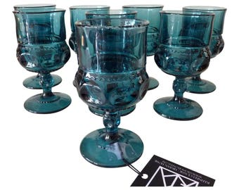 Gothic Style Blue Glass Goblets - Set of 8