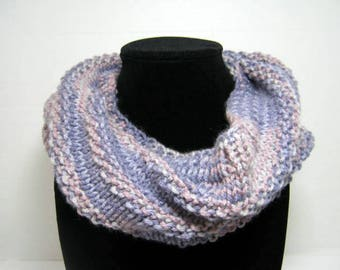 Lilac Purple Knitted Cowl Scarf in Acrylic Yarn