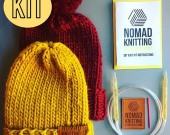 DIY Knitting Kit / Beginners Knit Kit / Beanie Hat Knit Kit / Beanie Super Chunky Knit  / Pom Pom Hat / Slouchy Beanie Hat Knitting Pattern