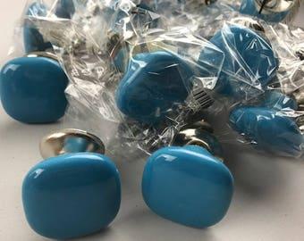 JOB LOT 17 X Vibrant pebble shaped square Blue knobs -  Ceramic Home decor drawer pull