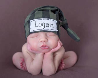 newborn boy coming home outfit, personalized baby hat,newborn name hat, baby plaid hat, baby boy hat, embroidered baby hat,baby name hat