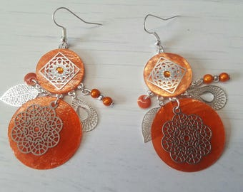 Coral and silver dangling earrings