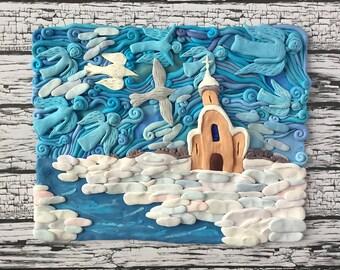 Winter Church And Frozen River Wall Sculpture