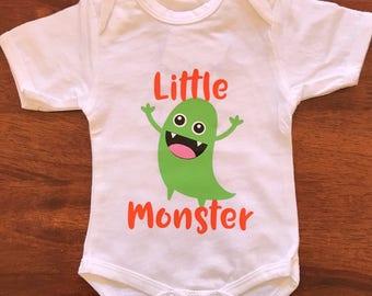 """Monster Themed """"Little Monster"""" Baby Onesie Bodysuit"""