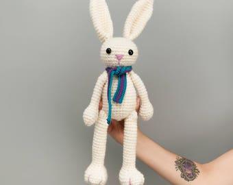 Rabbit plush softtoy rabbit, rabbit, rabbit, Bunny crochet white crochet plush rabbit, Hare, rabbit jean