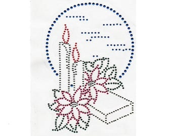 Candle with Poinsettias Applique, Rhinestuds Iron On, DIY Iron On Heat Press Transfer 309
