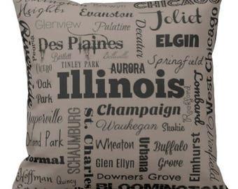 Illinois cities pillow - IL typography throw pillow - grey or orange decorative pillow - Ill. cushion - gift
