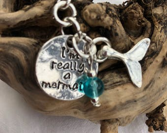 I'm Really A Mermaid necklace; silver necklace ; perfect gift