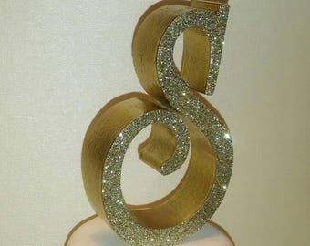 Custom monogram 3D wedding cake topper letter, Bling crystal flakes