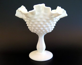 Vintage Fenton Milk Glass Hobnail Compote Footed Candy Dish