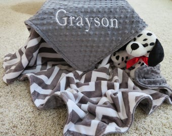 Minky Baby Blanket, Personalized Baby Boy Blanket, Gray Chevron  Baby Boy Blanket, Baby Gift, Baby Shower Gift, Minky Baby Blankets