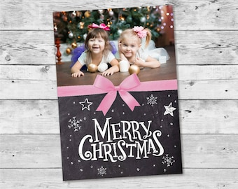 Personalized Christmas Cards Photo / Christmas Cards Printable Chalkboard Digital Template  - Design ID: 34-15A