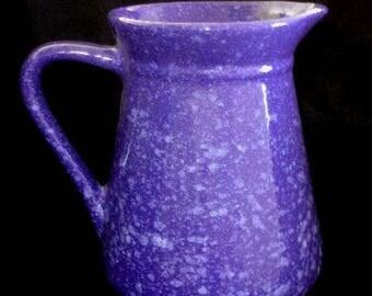 Blue  Spatterware 48oz Stoneware Water Pitcher / Vase