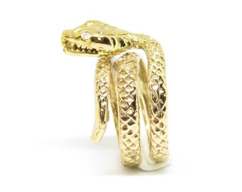 Antique Egyptian/Victorian 9ct Gold Coiled Snake Ring Size J