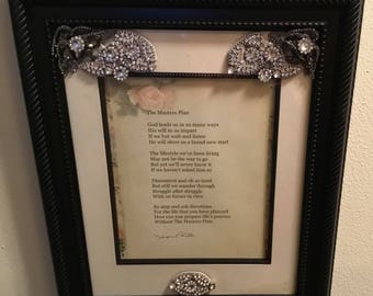 The Masters Plan Poem with Rhinestones on a Black Picture Frame 17 1/2 X 14 1/2