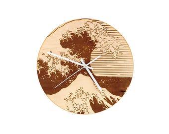 Japanese Wall Clock, laser cut clock, wood clock, laser cut wood, wall clock, wooden wall clock, unique wall clock, Japanese wood art