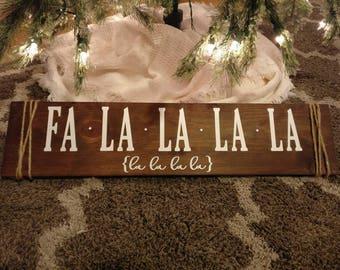 Handmade Fa La La Holiday Sign