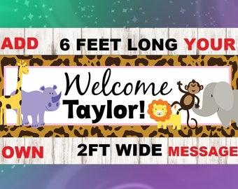 Safari Party Banner, Jungle Banner, Jungle Shower Banner, Safari Birthday Party, Safari Baby Shower, Jungle 1st Birthday, Jungle Animal