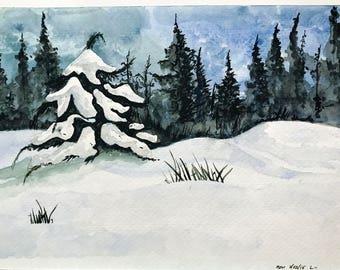 Winter Wonderland (Original Watercolor Painting)