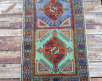 Vintage Turkish Lovely Color Small Rug, 1'9'' x 3'4''  //  57 x 104 Cm Entryway Rug, Doormat Rug, Mat Rug, Antique Anatolian Yastik Rugs