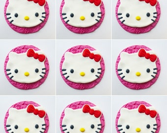 Hello Kitty cupcake toppers 12 Edible toppers