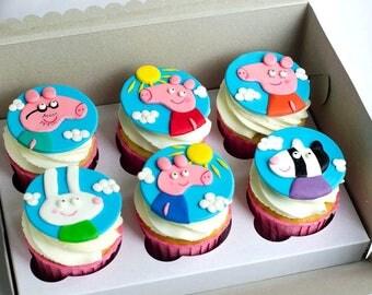 Peppa pig cupcake toppers Edible fondant 12 psc