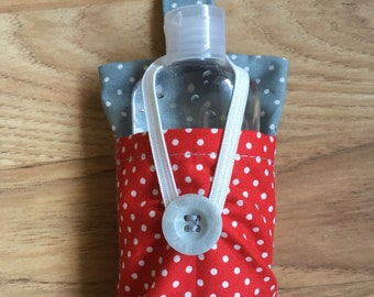 Dog Poo Bag Carrier, Pockets for Hand Sanitizer (not included). 100% Cotton with compartment for poo bags and 3 other pockets.