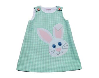 Girls applique dress Toddler pinafore jumper A-line infant sundress Girls clothing Baby girls summer outfit Rabbit 3-9-12M 2-3-4-5-6-7-8-10Y