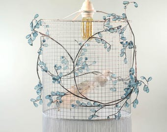 White and Blue -  Birdcage Chandelier Pendant Light Lampshade