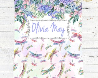 Personalized Baby Blanket / Dragonfly Baby Blanket / Name Baby Blanket / Floral Baby Blanket / Watercolor Baby Blanket / Photo Prop Blanket