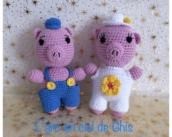 Toy, plush, stuffed little pigs