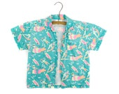 Badge - Kids 90's Retro Aqua/Pink Surfer/Beach Button up shirt - 3x