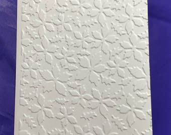 """Embossed Poinsettia and Holly on 4"""" x 5.5"""" ivory card. Set of 5"""