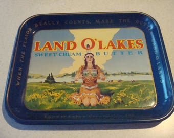 Vintage Land O' Lakes Sweet Cream Butter Metal Advertising Tray American Native Image