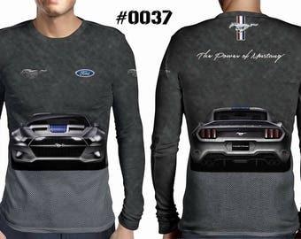New ultramodern 3D  High Quality  Mens  Long Sleeve GRAY T-shirt Ford MUSTANG