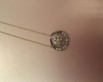 Sale! Crescent Moon and Star Diamond Necklace