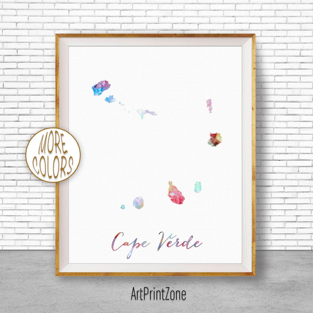 Cape Verde Print Watercolor Map Art Office Wall Decor Living Room Zone