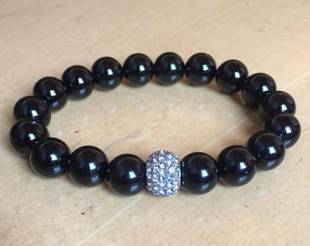 Bracelet Onyx Kristallbead