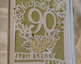 A5 Age Birthday Card -Luxury Boxed  - Flower Theme - Original Papercut Design - Customised Message, any age - Mum, Nan, Aunt etc. Any Color.